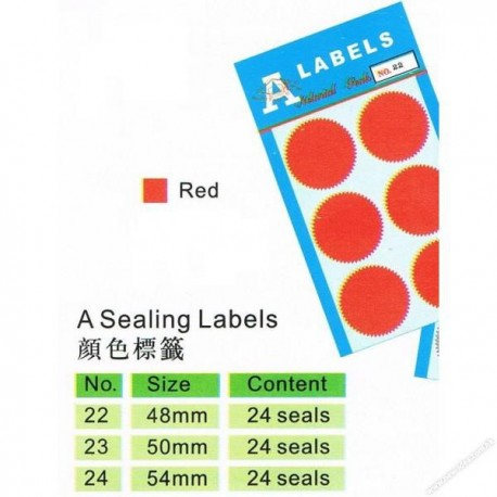 A Labels A-22 Self Adhesive Sealing Labels Dia.48mm 24's Red