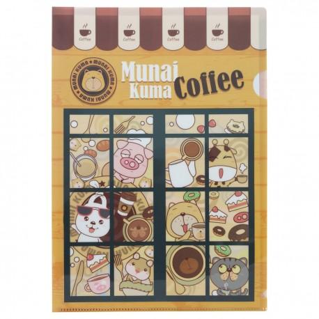 Munai Kuma Coffee A4 Clear Folder