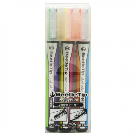 "KOKUYO ""Dual Color Highlighter 3-Color Set Yellow/Red, Purple/Light Green, Orange/Blue"""