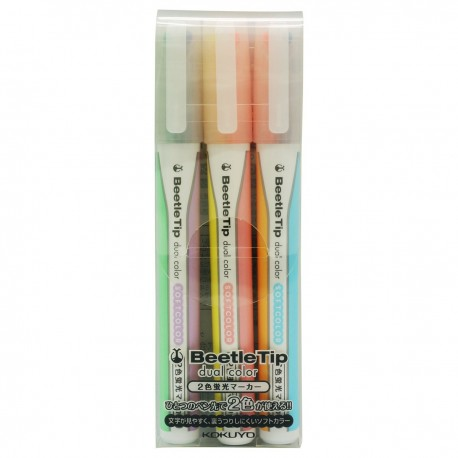 KOKUYO Dual Color Highlighter 3-Color Set Soft Yellow/Soft Pink, Soft Purple/Soft Green, Soft Orange/Soft Blue