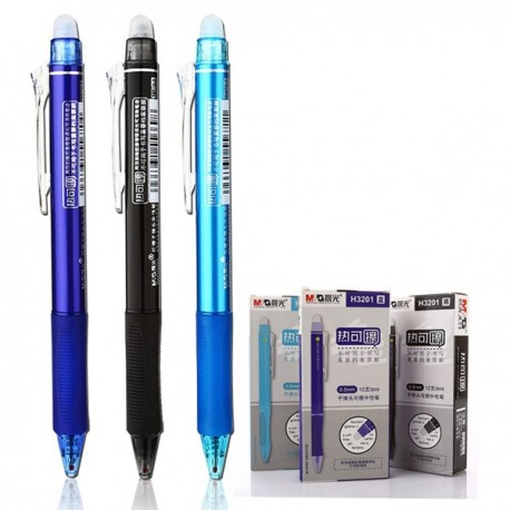 M & G AKPH-3201 Erasable Gel Pen 0.5mm Black/Blue/Crystal Blue