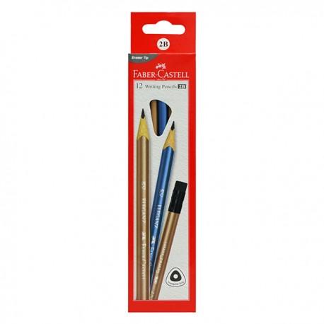 Faber-Castell 三角Graphic Eleganz 石墨2B筆 擦膠頭 12支裝