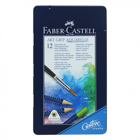 Faber-Castell Watercolor Pencils Art Grip Aquarelle Tin 12-Color
