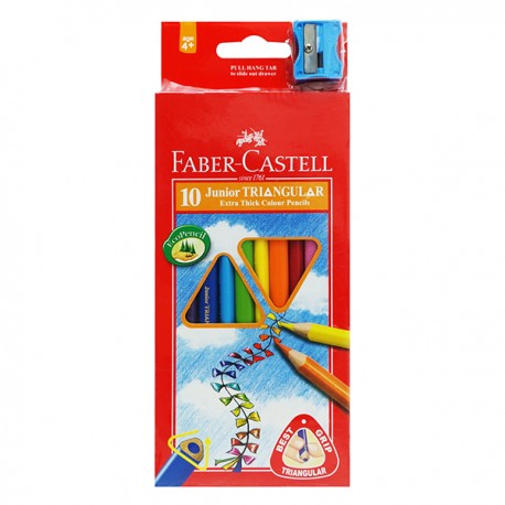 Faber-Castell Junior Triangular Extra Thick Color Pencils 10-Color 3.8mm Thick Lead