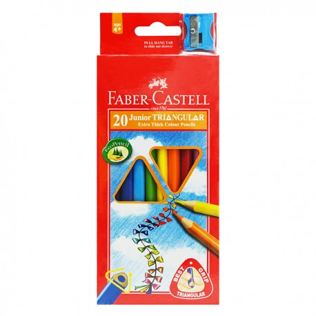 Faber-Castell Junior Triangular Extra Thick Color Pencils 20-Color 3.8mm Thick Lead