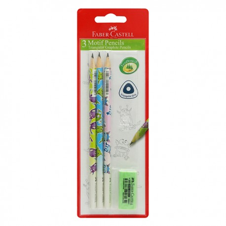 Faber-Castell Triangular Motif HB Pencil Monster Blister 3pcs/set