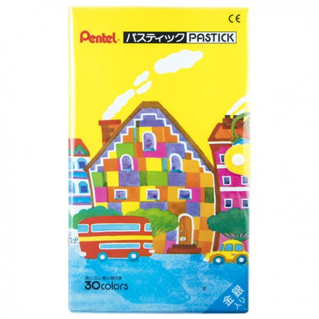 Pentel Pastick Eraserable Crayons 30-Color
