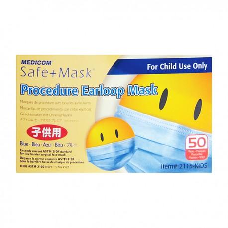 Medicom 2115-Kid Safe+Mask Child Surgical Face Mask Ear-loop 3-Ply 50's