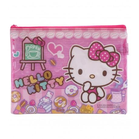 Hello Kitty PVC面網背拉鍊文件袋 細 19.5厘米闊x15厘米高