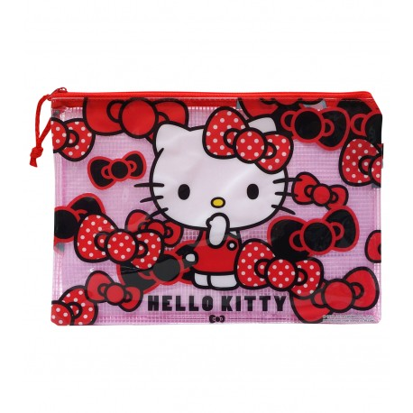 Hello Kitty PVC面網背拉鍊文件袋 中 25厘米闊x17.5厘米高
