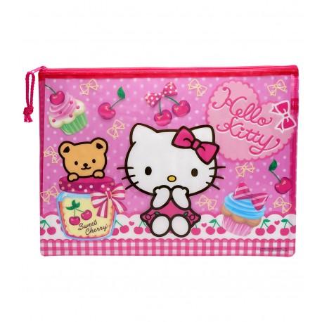 Hello Kitty PVC面網背拉鍊文件袋 大 35厘米闊x26厘米高