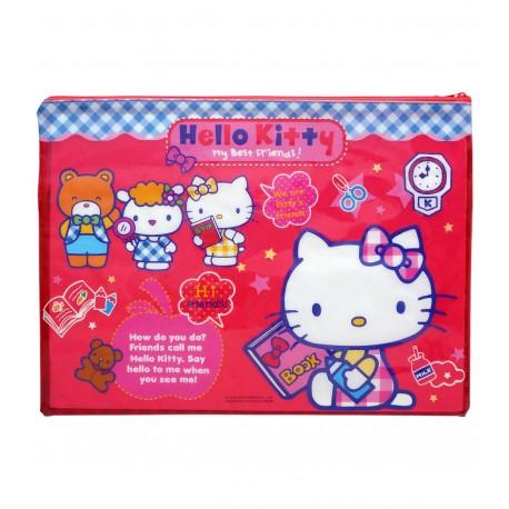 Hello Kitty PVC 面網底雙拉鍊快勞袋 大 35厘米闊x26厘米高