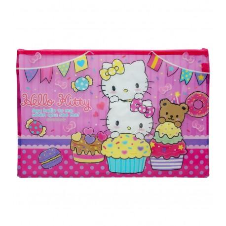 Hello Kitty F4 PVC面網底雙拉鍊快勞袋 大 39厘米闊x25.5厘米高