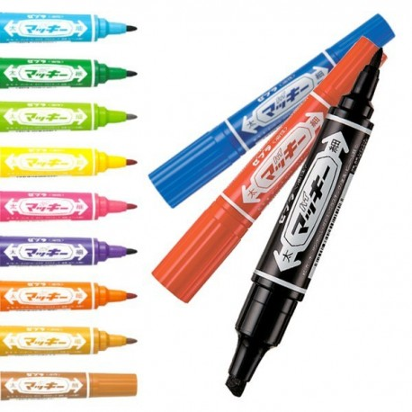 Zebra MO-150 Hi-Mckee 2-Head Permanent Marker Broad Black/Blue/Red/Green/Purple/Orange/Brown