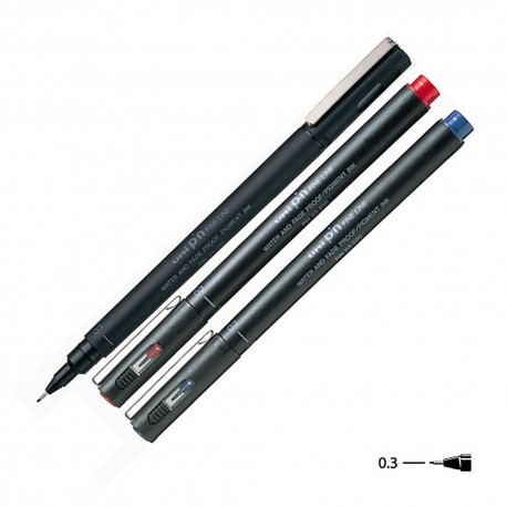 Uni PIN-03-200 Water Based Drawing Pen Black/Blue/Red