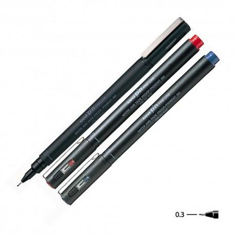 三菱 PIN-03-200 水性繪圖筆 黑色/藍色/紅色