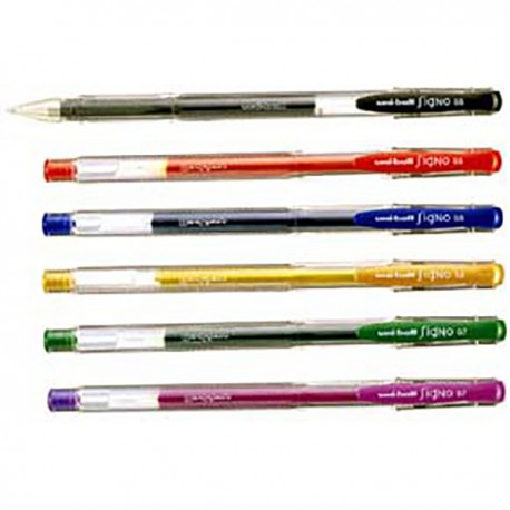 Uni-Ball UM-100 Signo Waterproof Gel Pen Black/Blue/Red/Green/Purple/Golden