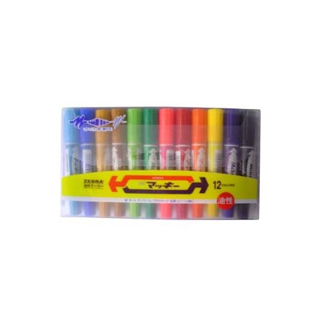 Zebra MO-150 Hi-Mckee 2-Head Permanent Marker Set Broad 12 Colors