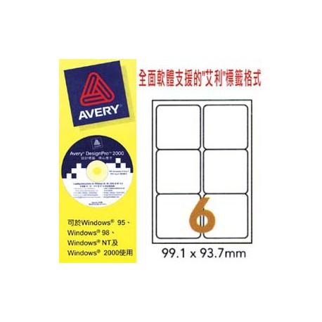 艾利 L7166 航運標籤 99.1毫米x93.1毫米 600個 白色