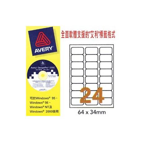 艾利 L7159 地址標籤 64毫米x34毫米 2400個 白色