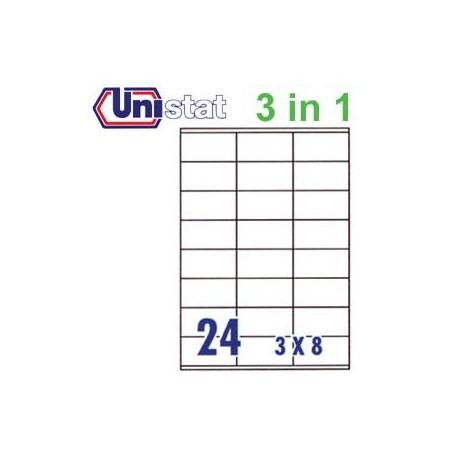 Unistat U4453 多用途標籤 A4 70毫米x36毫米 2400個 白色