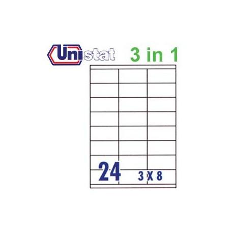 Unistat U4429 多用途標籤 A4 70毫米x35毫米 2400個 白色
