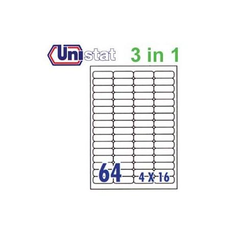 Unistat U4271 多用途標籤 A4 48.3毫米x16.9毫米 6400個 白色