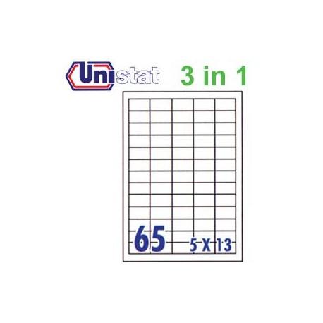 Unistat U4270 多用途標籤 A4 38.1毫米x21.2毫米 6500個 白色