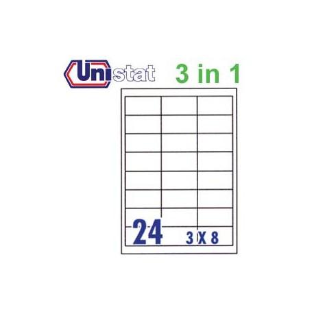 Unistat U4262 多用途標籤 A4 64.6毫米x33.8毫米 2400個 白色