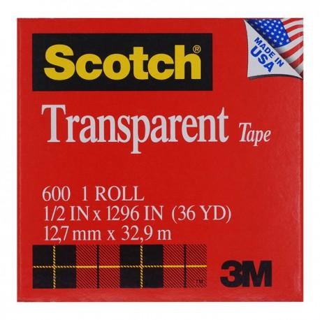 3M 思高牌 600 透明膠紙 1/2吋(12亳米)x36碼
